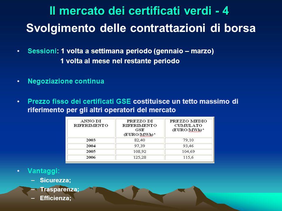 Il mercato dei certificati verdi - 4 Svolgimento delle contrattazioni di borsa Sessioni: 1 volta a settimana periodo (gennaio – marzo) 1 volta al mese