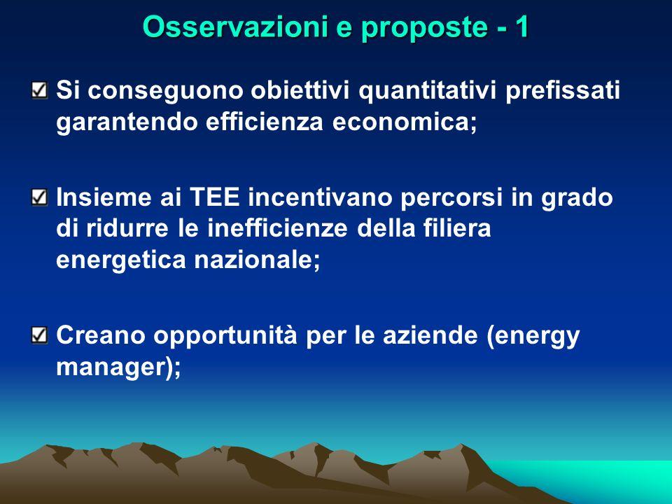 Osservazioni e proposte - 1 Si conseguono obiettivi quantitativi prefissati garantendo efficienza economica; Insieme ai TEE incentivano percorsi in gr