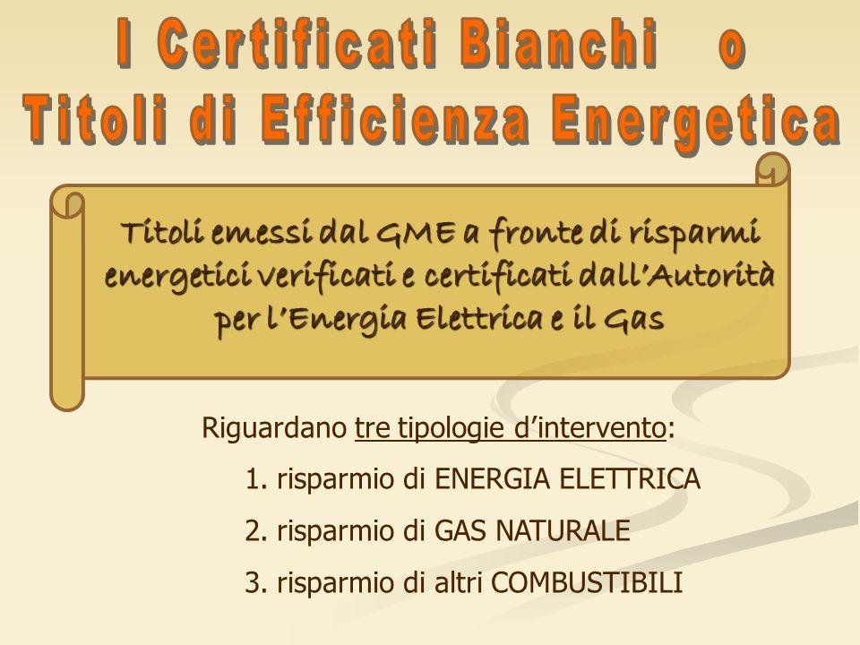 Titoli emessi dal GME a fronte di risparmi energetici verificati e certificati dallAutorità per lEnergia Elettrica e il Gas Riguardano tre tipologie d
