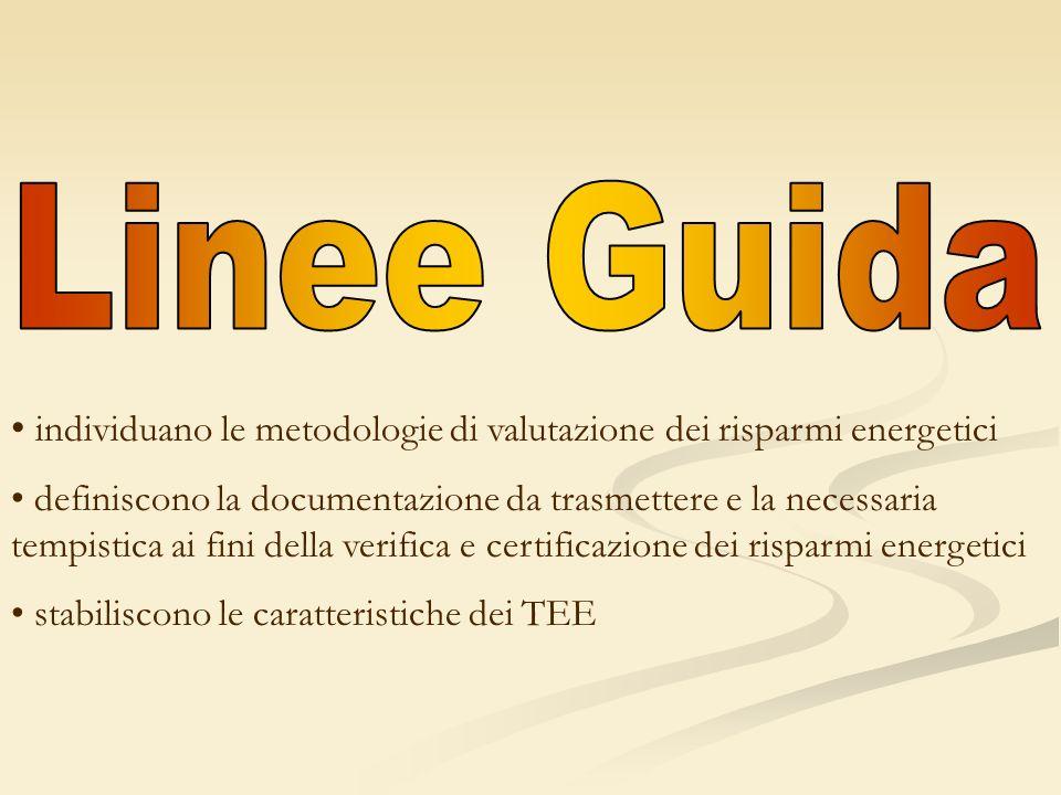 individuano le metodologie di valutazione dei risparmi energetici definiscono la documentazione da trasmettere e la necessaria tempistica ai fini dell