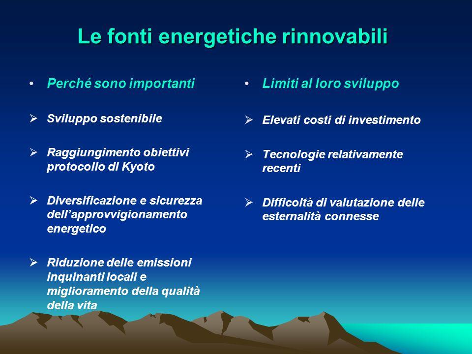 Le fonti energetiche rinnovabili Perché sono importanti Sviluppo sostenibile Raggiungimento obiettivi protocollo di Kyoto Diversificazione e sicurezza