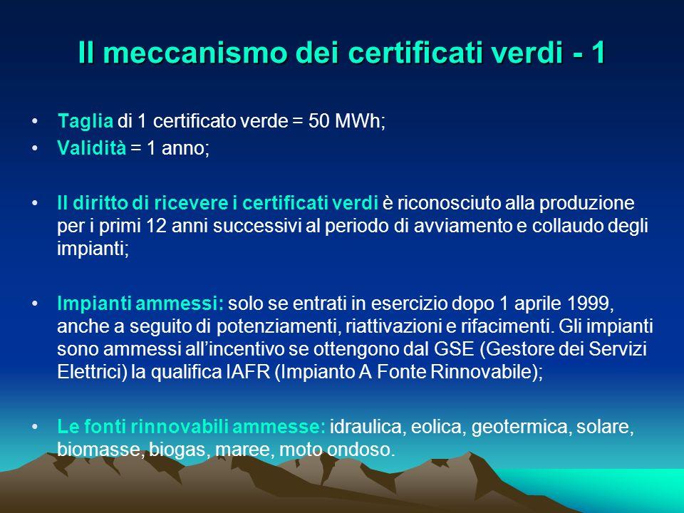 Il meccanismo dei certificati verdi - 1 Taglia di 1 certificato verde = 50 MWh; Validità = 1 anno; Il diritto di ricevere i certificati verdi è ricono