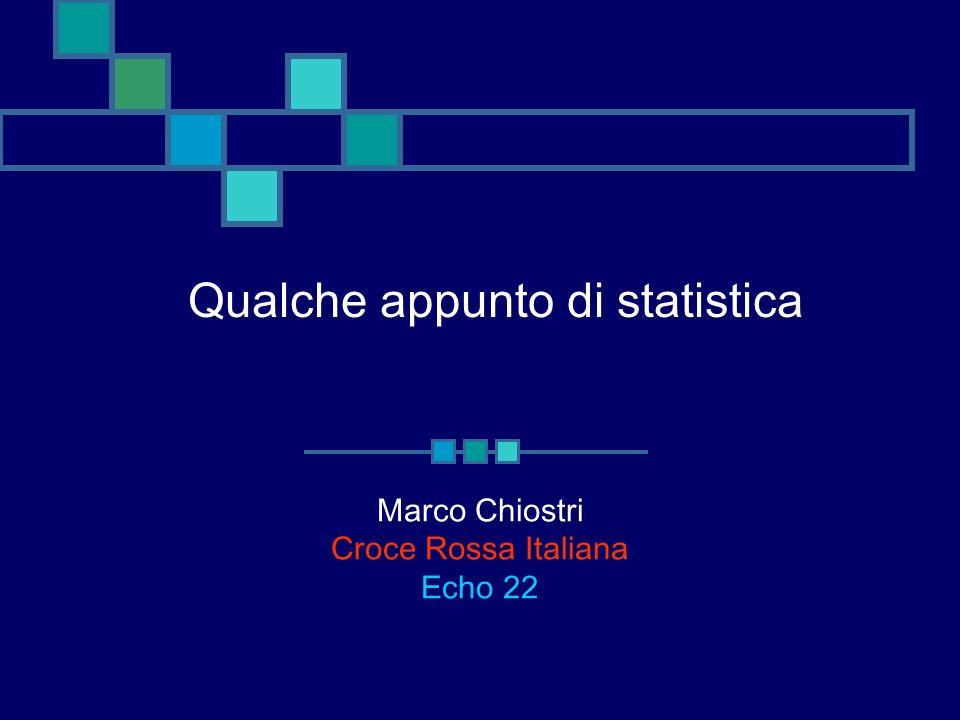 Qualche appunto di statistica Marco Chiostri Croce Rossa Italiana Echo 22