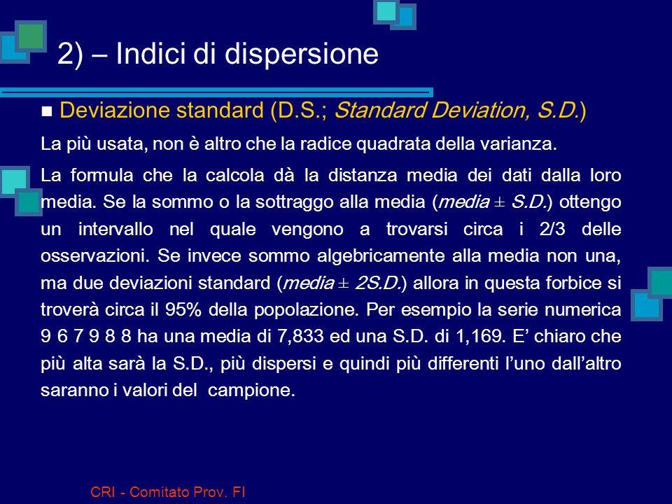 CRI - Comitato Prov. FI 2) – Indici di dispersione Valori estremi Il valore più basso, quello più alto e lintervallo fra essi. È chiaramente troppo se