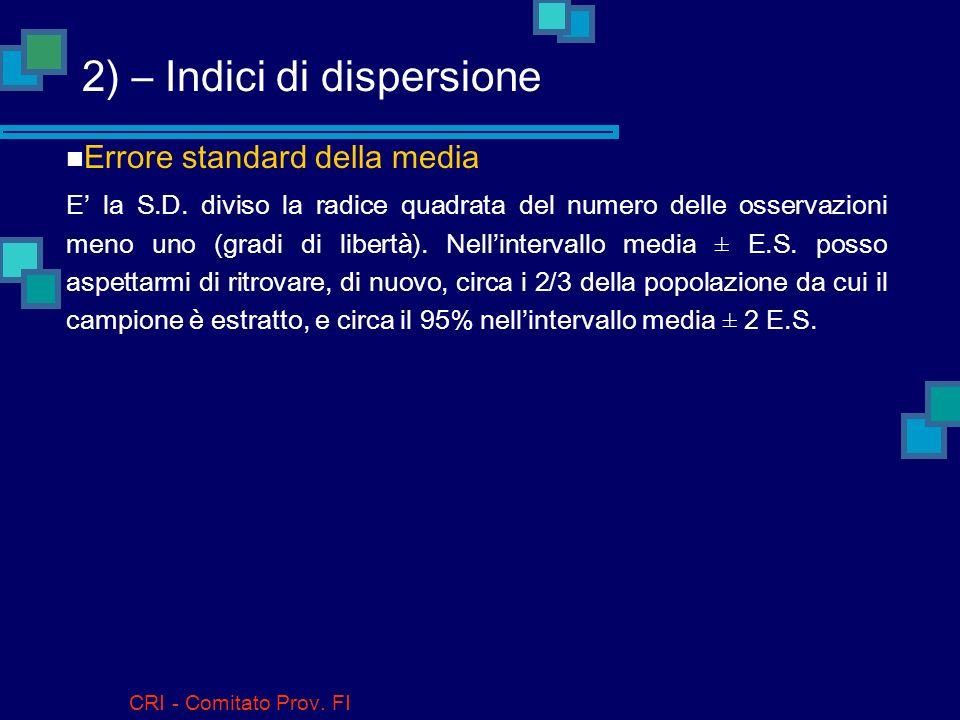 CRI - Comitato Prov. FI 2) – Indici di dispersione Deviazione standard (D.S.; Standard Deviation, S.D.) La più usata, non è altro che la radice quadra