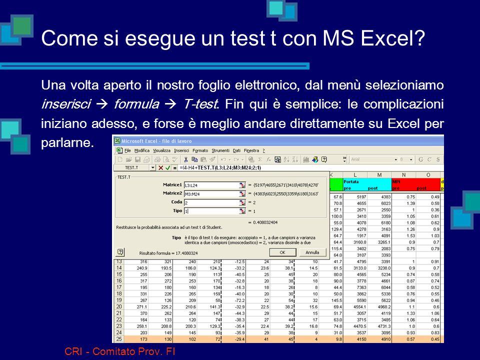 CRI - Comitato Prov. FI Il test t di Student Abbiamo detto che presuppone una distribuzione normale dei dati, ma bisogna subito aggiungere che si trat