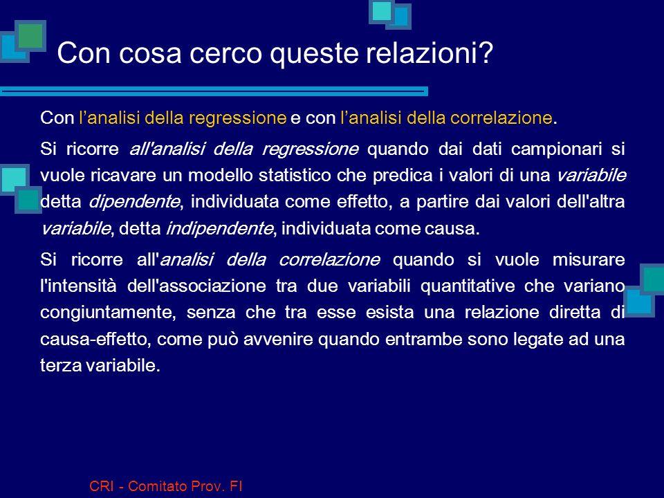 CRI - Comitato Prov. FI Che relazioni esistono fra 2 (o più) variabili? Per esempio, quando per ogni individuo si misurano contemporanea- mente il pes