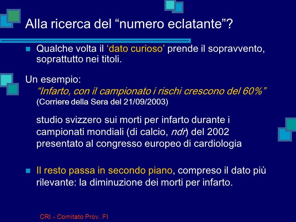 CRI - Comitato Prov.FI Come faccio a descrivere i dati quantitativi .
