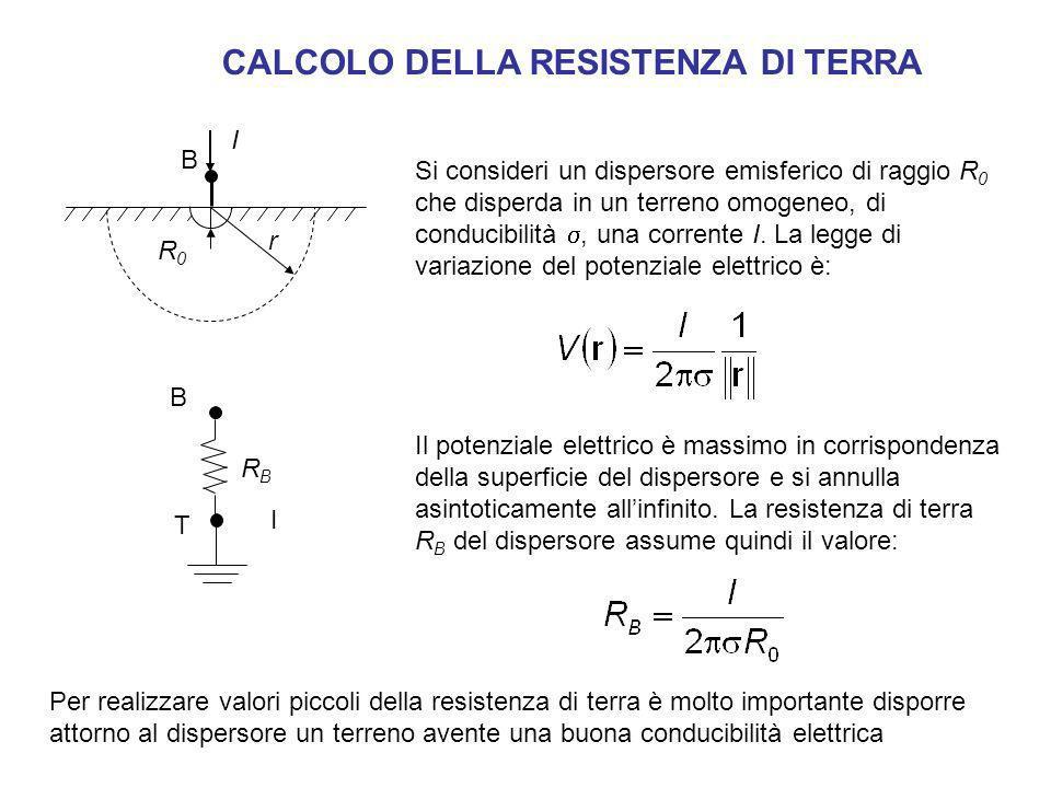 Si consideri un dispersore emisferico di raggio R 0 che disperda in un terreno omogeneo, di conducibilità, una corrente I. La legge di variazione del
