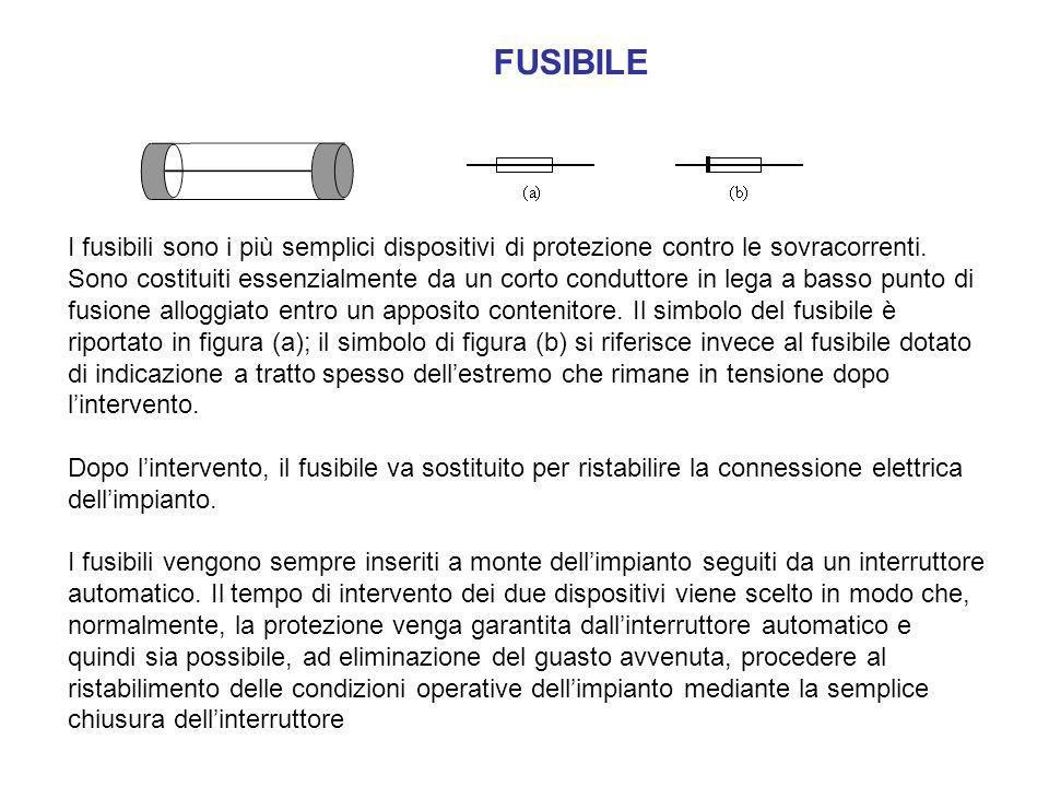 FUSIBILE I fusibili sono i più semplici dispositivi di protezione contro le sovracorrenti. Sono costituiti essenzialmente da un corto conduttore in le