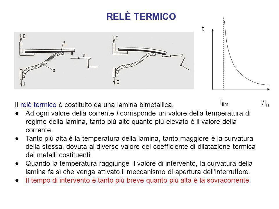 Il relè termico è costituito da una lamina bimetallica. Ad ogni valore della corrente I corrisponde un valore della temperatura di regime della lamina
