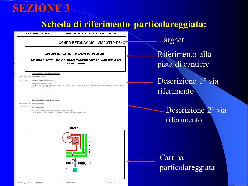 SEZIONE 3 Scheda di riferimento particolareggiata: Targhet Riferimento alla pista di cantiere Descrizione 1° via riferimento Descrizione 2° via riferimento Cartina particolareggiata