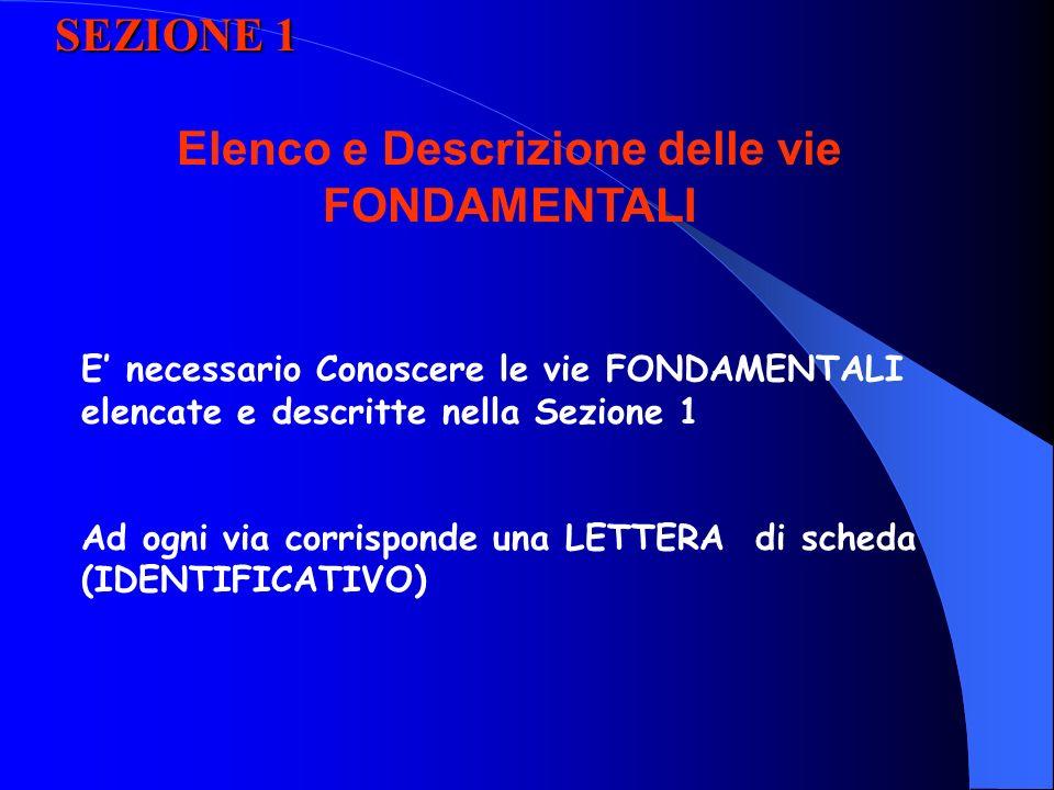 SEZIONE 1 E necessario Conoscere le vie FONDAMENTALI elencate e descritte nella Sezione 1 Ad ogni via corrisponde una LETTERA di scheda (IDENTIFICATIVO) Elenco e Descrizione delle vie FONDAMENTALI