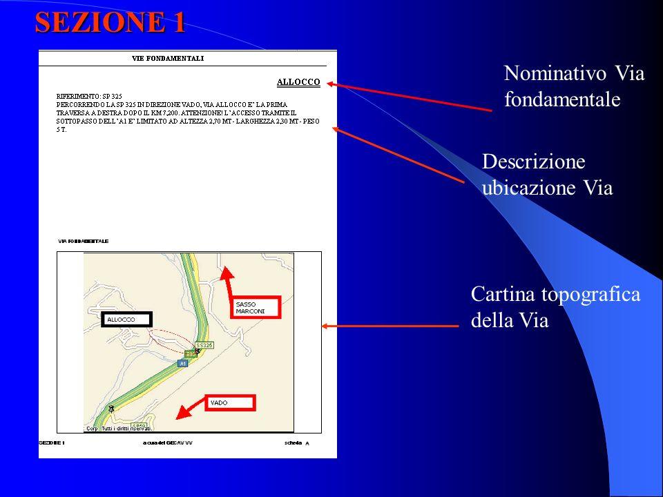 SEZIONE 1 Nominativo Via fondamentale Descrizione ubicazione Via Cartina topografica della Via