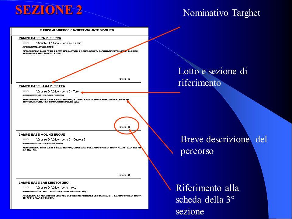 SEZIONE 2 Nominativo Targhet Lotto e sezione di riferimento Breve descrizione del percorso Riferimento alla scheda della 3° sezione