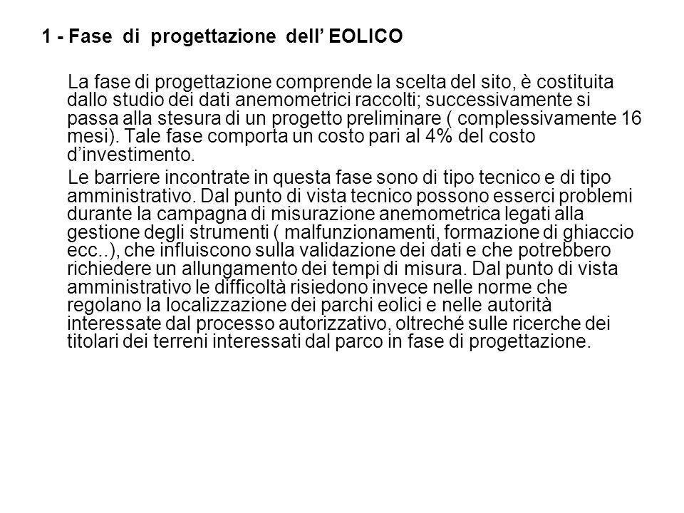 1 - Fase di progettazione dell EOLICO La fase di progettazione comprende la scelta del sito, è costituita dallo studio dei dati anemometrici raccolti;
