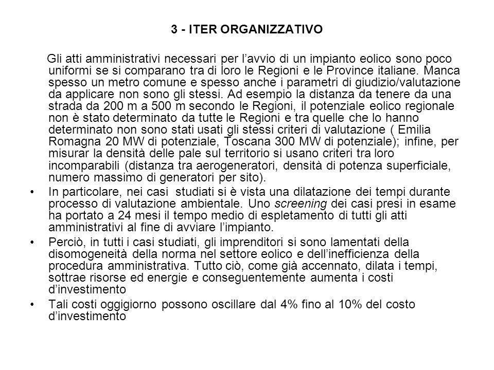3 - ITER ORGANIZZATIVO Gli atti amministrativi necessari per lavvio di un impianto eolico sono poco uniformi se si comparano tra di loro le Regioni e