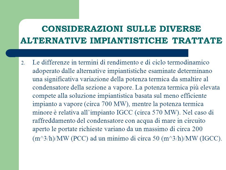 CONSIDERAZIONI SULLE DIVERSE ALTERNATIVE IMPIANTISTICHE TRATTATE 2. Le differenze in termini di rendimento e di ciclo termodinamico adoperato dalle al