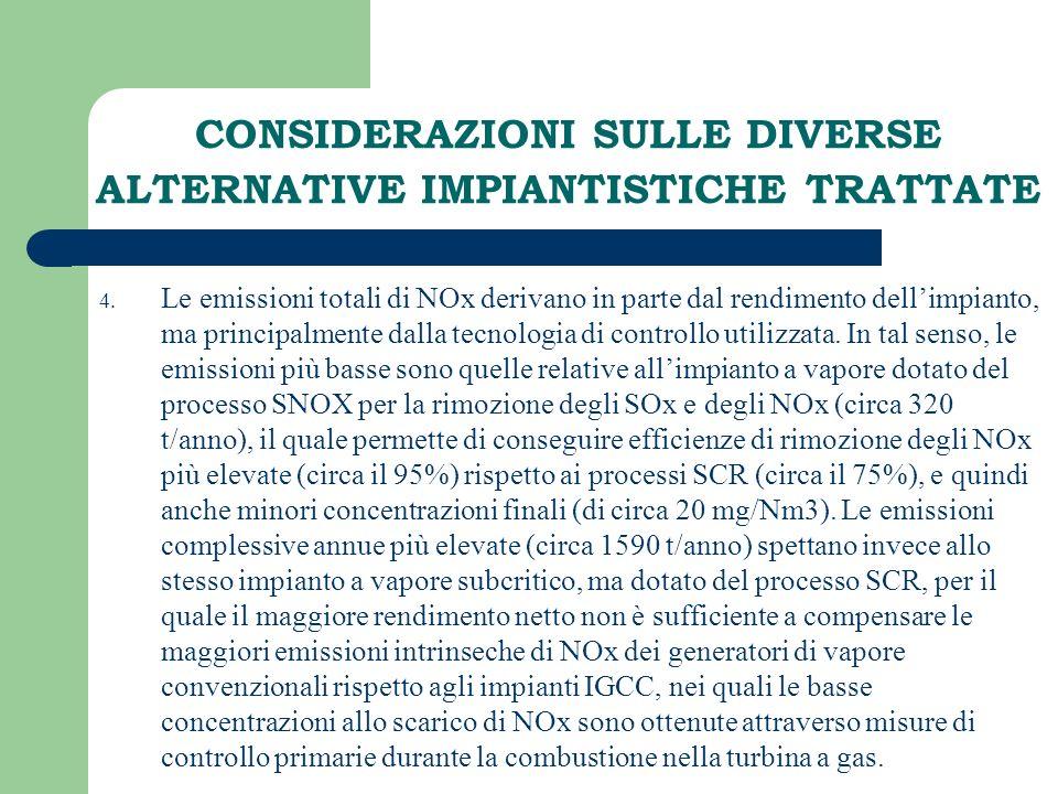 CONSIDERAZIONI SULLE DIVERSE ALTERNATIVE IMPIANTISTICHE TRATTATE 4. Le emissioni totali di NOx derivano in parte dal rendimento dellimpianto, ma princ