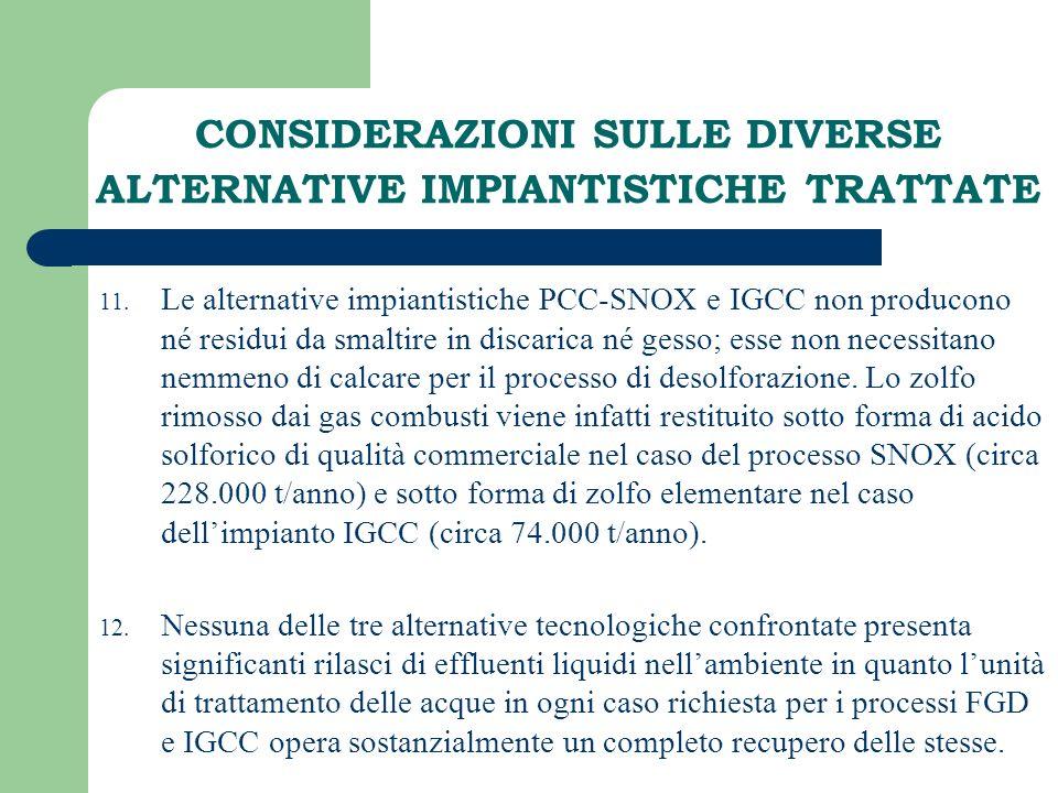 CONSIDERAZIONI SULLE DIVERSE ALTERNATIVE IMPIANTISTICHE TRATTATE 11. Le alternative impiantistiche PCC-SNOX e IGCC non producono né residui da smaltir