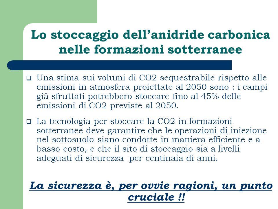Lo stoccaggio dellanidride carbonica nelle formazioni sotterranee Una stima sui volumi di CO2 sequestrabile rispetto alle emissioni in atmosfera proie