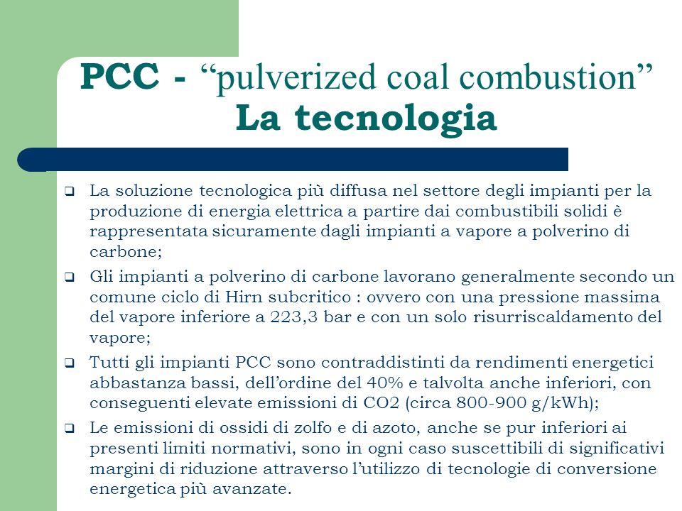 PCC - pulverized coal combustion La tecnologia La soluzione tecnologica più diffusa nel settore degli impianti per la produzione di energia elettrica