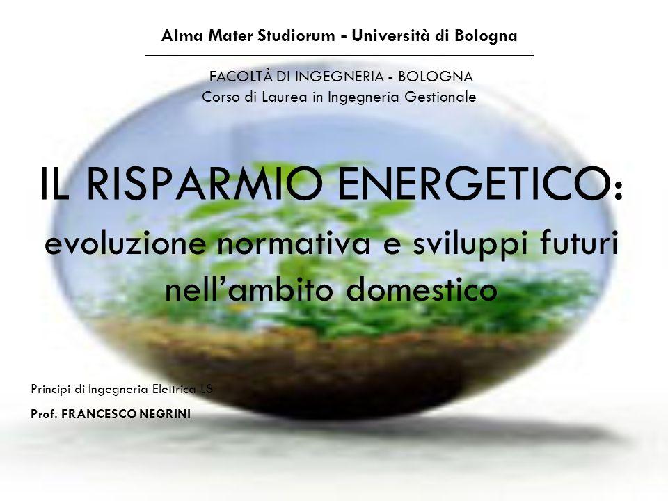 IL RISPARMIO ENERGETICO: Alma Mater Studiorum - Università di Bologna FACOLTÀ DI INGEGNERIA - BOLOGNA Corso di Laurea in Ingegneria Gestionale Princip