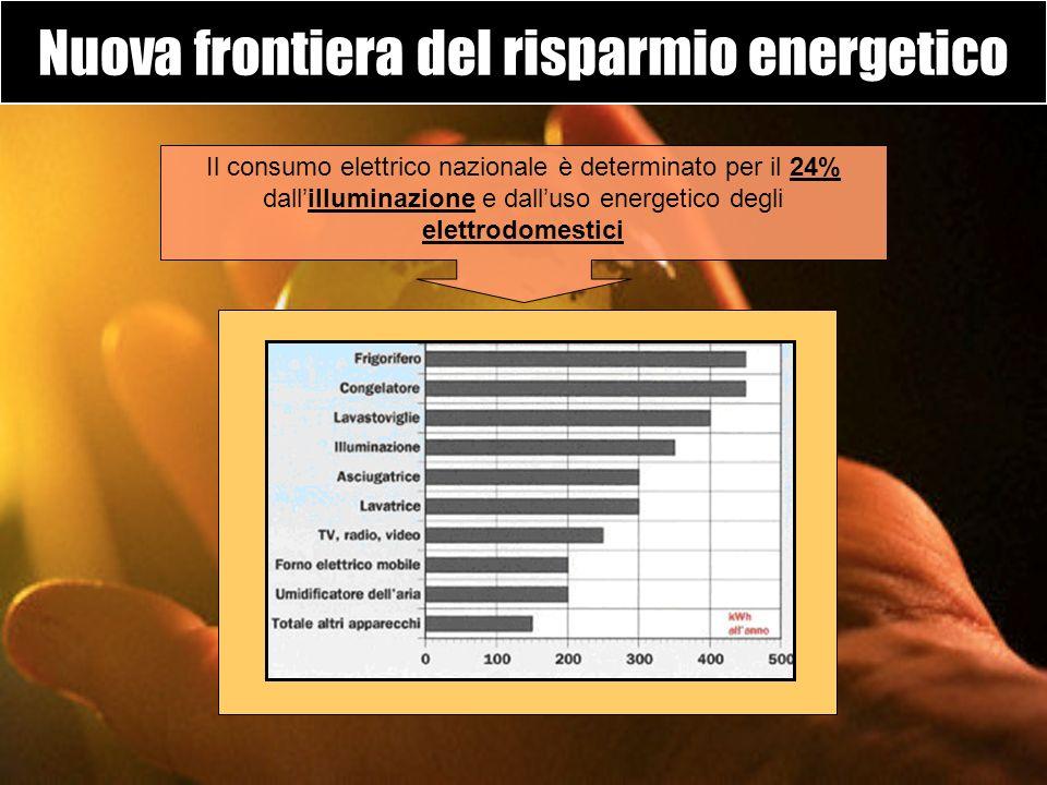 Nuova frontiera del risparmio energetico Il consumo elettrico nazionale è determinato per il 24% dallilluminazione e dalluso energetico degli elettrod