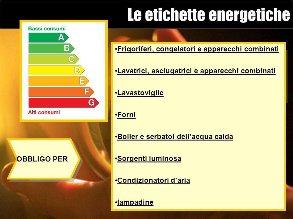 Direttiva dellUnione Europea 92/75/CEE, recepita anche a livello nazionale, che stabilisce la necessità di applicare unetichetta energetica ai princip