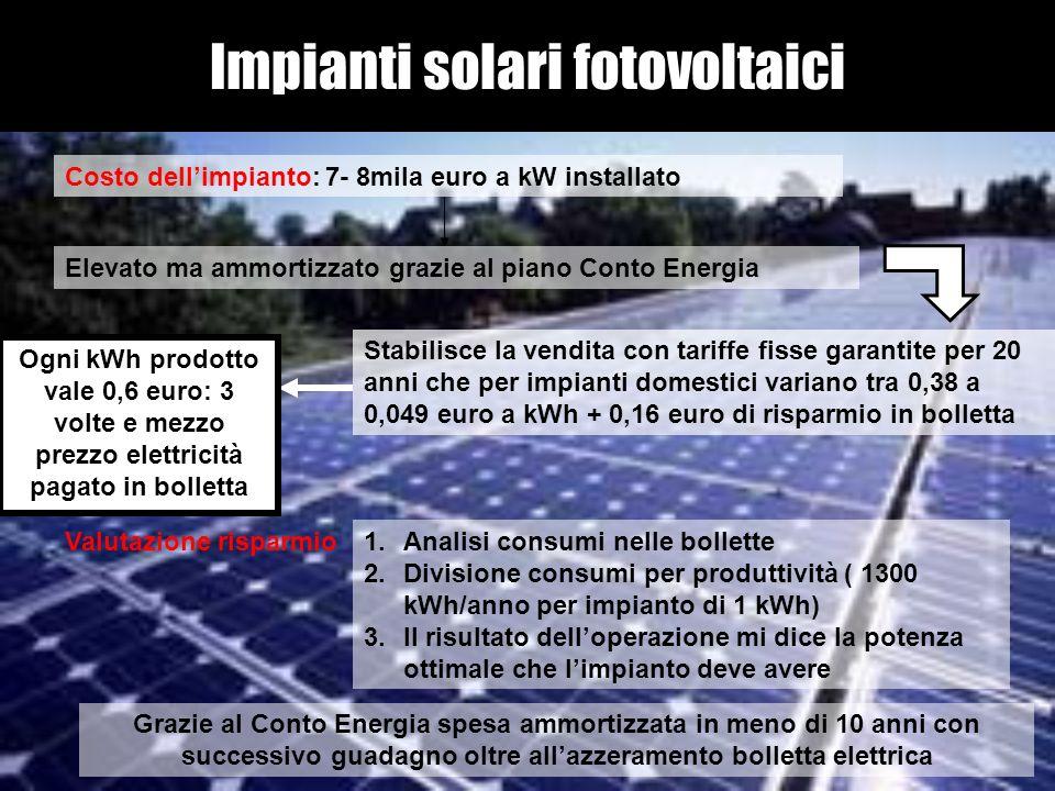 Impianti solari fotovoltaici Costo dellimpianto: 7- 8mila euro a kW installato Elevato ma ammortizzato grazie al piano Conto Energia Stabilisce la ven