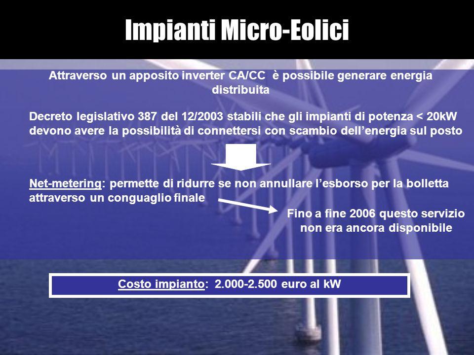 Impianti Micro-Eolici Attraverso un apposito inverter CA/CC è possibile generare energia distribuita Decreto legislativo 387 del 12/2003 stabili che g