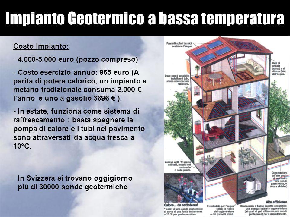 Impianto Geotermico a bassa temperatura Costo Impianto: - 4.000-5.000 euro (pozzo compreso) - Costo esercizio annuo: 965 euro (A parità di potere calo