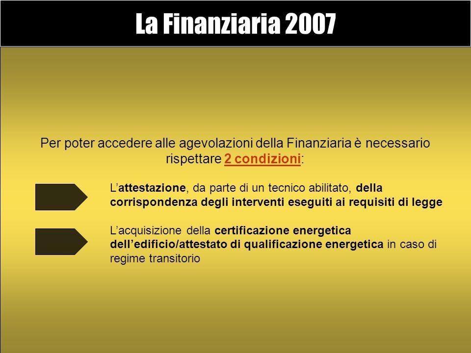 La Finanziaria 2007 Prevede agevolazioni finanziarie per la riqualificazione degli edifici esistenti e contributi per la realizzazione di nuova ediliz
