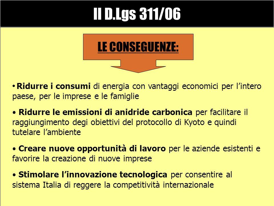 Il D.Lgs 311/06 corregge il precedente decreto 192/05 consente di recepire al meglio le normative UE e di innalzare notevolmente lefficienza energetic