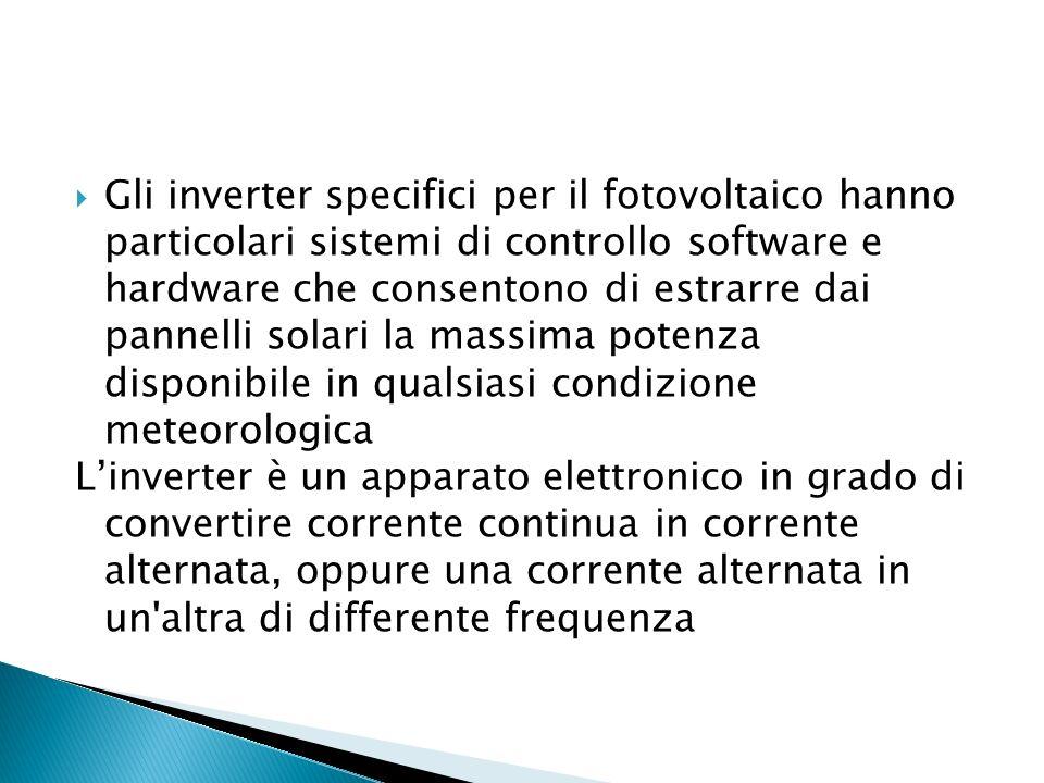 Gli inverter specifici per il fotovoltaico hanno particolari sistemi di controllo software e hardware che consentono di estrarre dai pannelli solari l