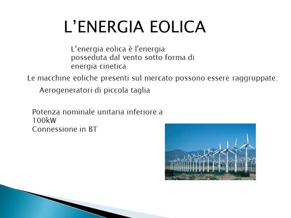LENERGIA EOLICA Aerogeneratori di piccola taglia Lenergia eolica è l'energia posseduta dal vento sotto forma di energia cinetica Le macchine eoliche p