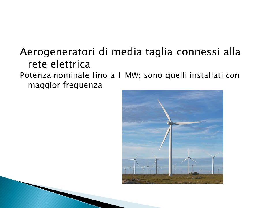 Aerogeneratori di media taglia connessi alla rete elettrica Potenza nominale fino a 1 MW; sono quelli installati con maggior frequenza