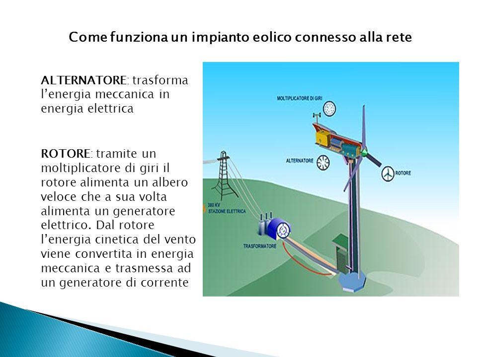 Come funziona un impianto eolico connesso alla rete ROTORE: tramite un moltiplicatore di giri il rotore alimenta un albero veloce che a sua volta alim