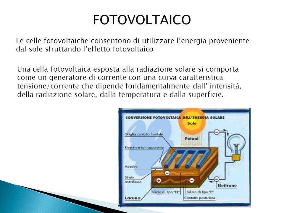 FOTOVOLTAICO Le celle fotovoltaiche consentono di utilizzare lenergia proveniente dal sole sfruttando leffetto fotovoltaico Una cella fotovoltaica esp