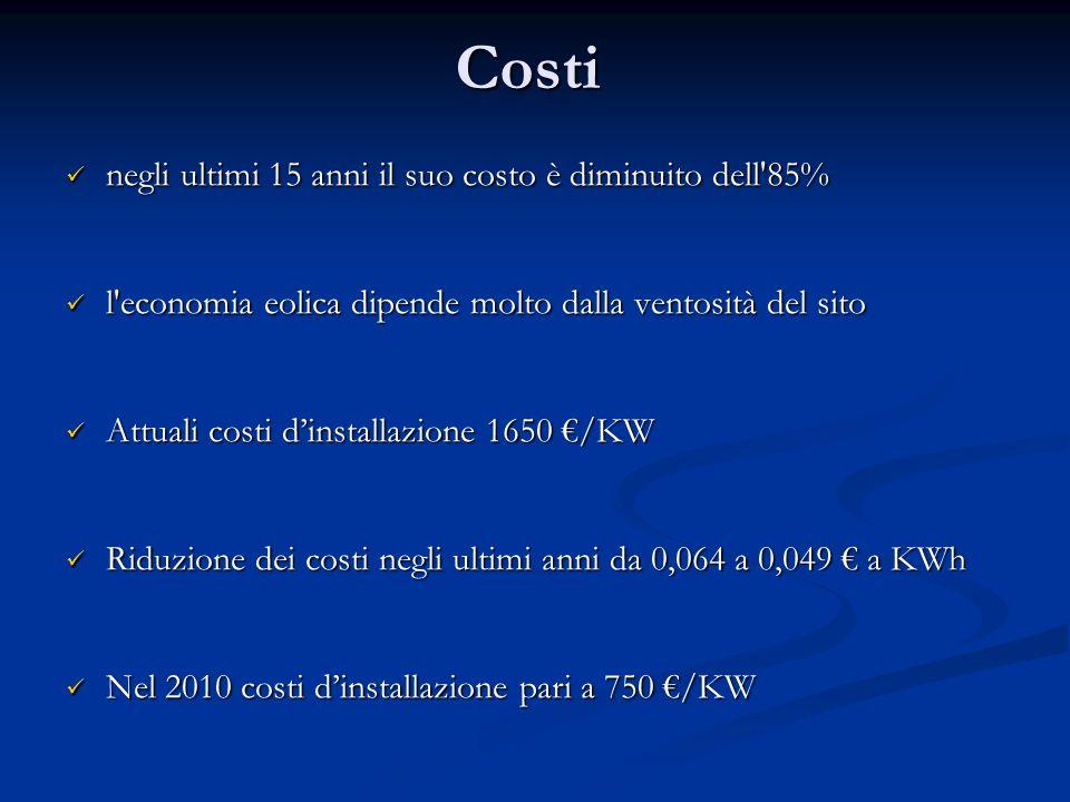 Costi negli ultimi 15 anni il suo costo è diminuito dell'85% negli ultimi 15 anni il suo costo è diminuito dell'85% l'economia eolica dipende molto da