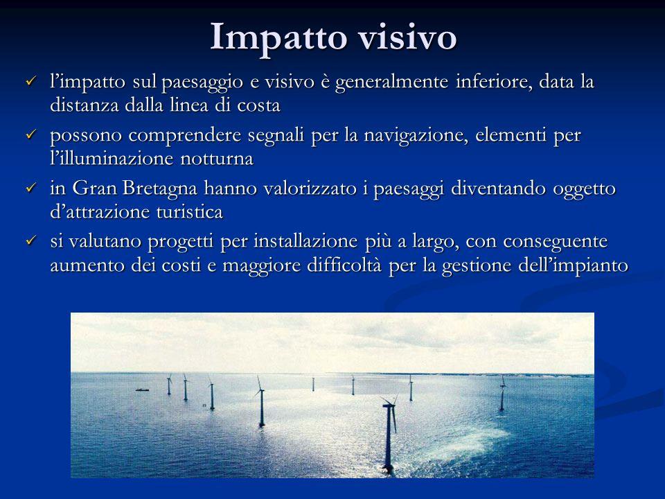 Impatto visivo limpatto sul paesaggio e visivo è generalmente inferiore, data la distanza dalla linea di costa limpatto sul paesaggio e visivo è gener