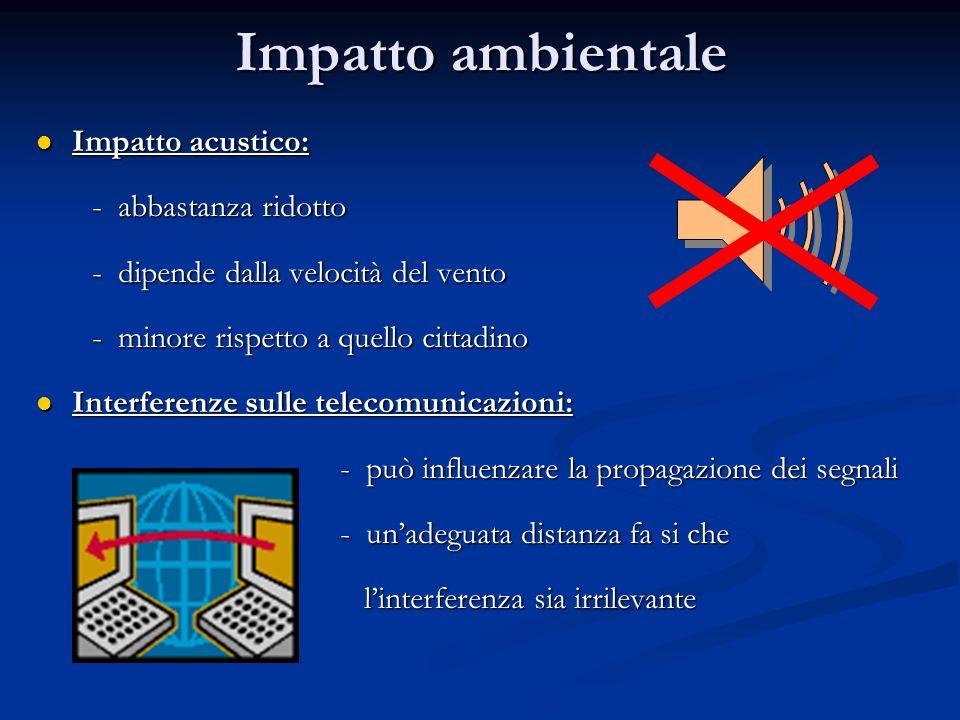 Impatto ambientale Impatto acustico: Impatto acustico: - abbastanza ridotto - abbastanza ridotto - dipende dalla velocità del vento - dipende dalla ve