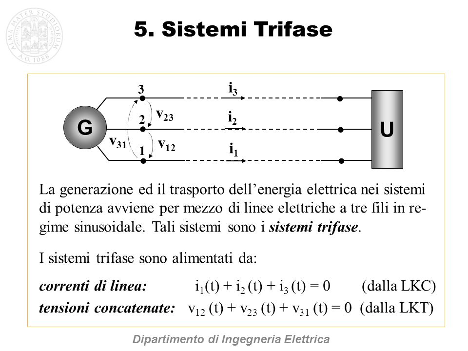 5. Sistemi Trifase La generazione ed il trasporto dellenergia elettrica nei sistemi di potenza avviene per mezzo di linee elettriche a tre fili in re-