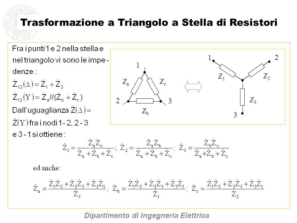 ZbZb ZcZc ZaZa 1 2 3 Z1Z1 Z3Z3 Z2Z2 1 3 2 Dipartimento di Ingegneria Elettrica Trasformazione a Triangolo a Stella di Resistori