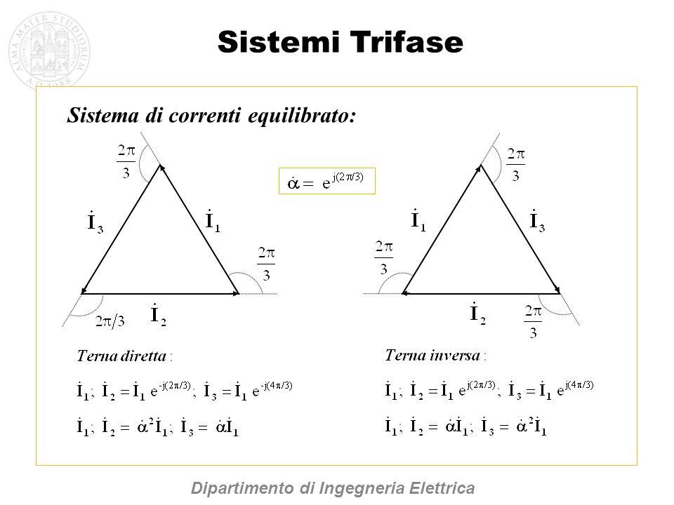Sistema di correnti equilibrato: Sistemi Trifase Dipartimento di Ingegneria Elettrica