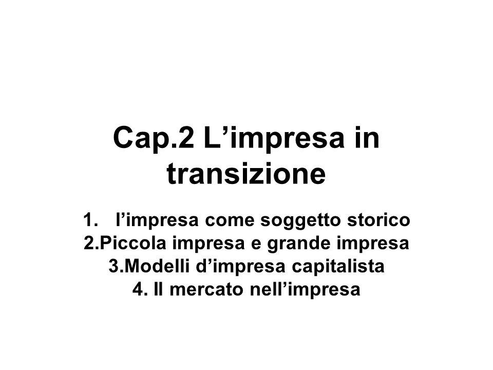 Cap.2 Limpresa in transizione 1.limpresa come soggetto storico 2.Piccola impresa e grande impresa 3.Modelli dimpresa capitalista 4. Il mercato nellimp