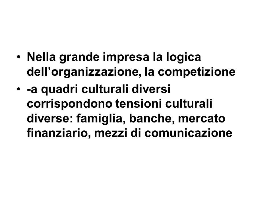 Nella grande impresa la logica dellorganizzazione, la competizione -a quadri culturali diversi corrispondono tensioni culturali diverse: famiglia, banche, mercato finanziario, mezzi di comunicazione