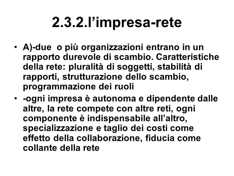 2.3.2.limpresa-rete A)-due o più organizzazioni entrano in un rapporto durevole di scambio. Caratteristiche della rete: pluralità di soggetti, stabili