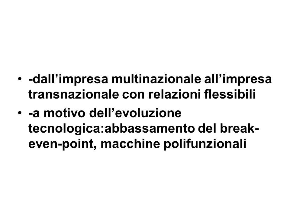 -dallimpresa multinazionale allimpresa transnazionale con relazioni flessibili -a motivo dellevoluzione tecnologica:abbassamento del break- even-point, macchine polifunzionali