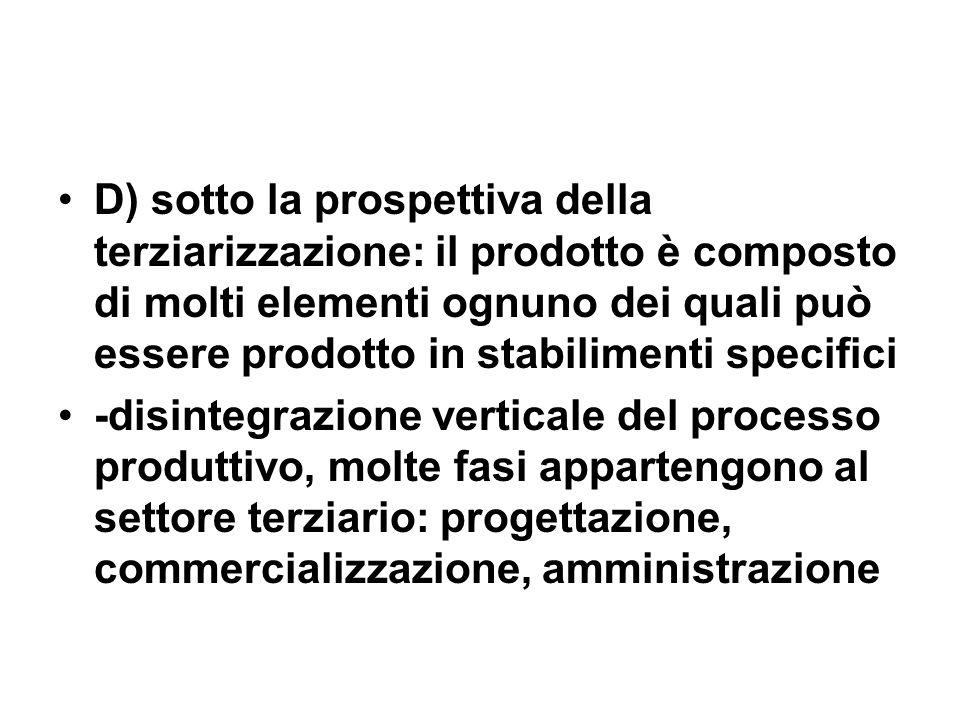 D) sotto la prospettiva della terziarizzazione: il prodotto è composto di molti elementi ognuno dei quali può essere prodotto in stabilimenti specific